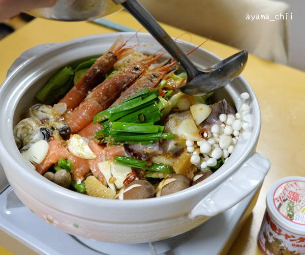 創味シャンタンで海鮮鍋