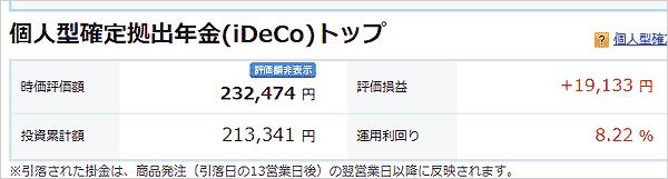 2月26日のiDeCoの損益